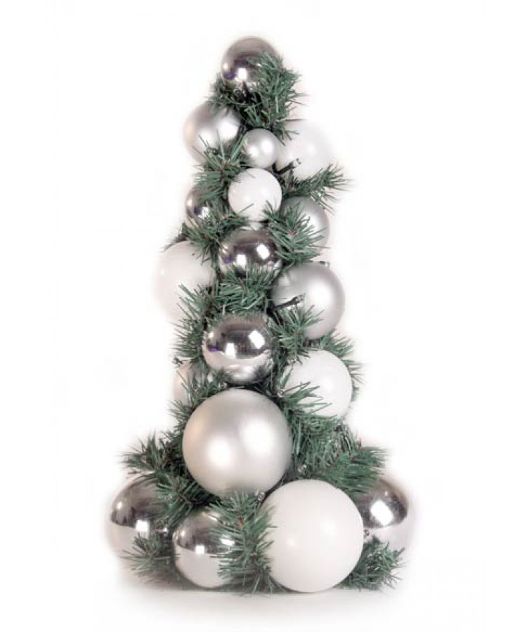 Bauble Tree Bright and Silver 40cm-1081