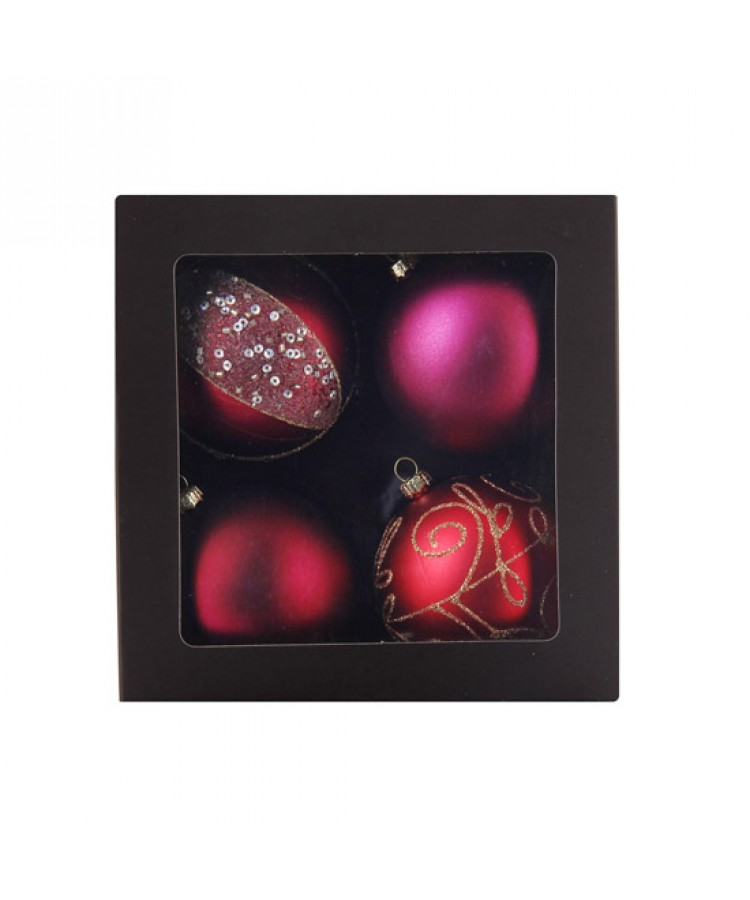 Selection of 7cm Baubles in red tones-1138