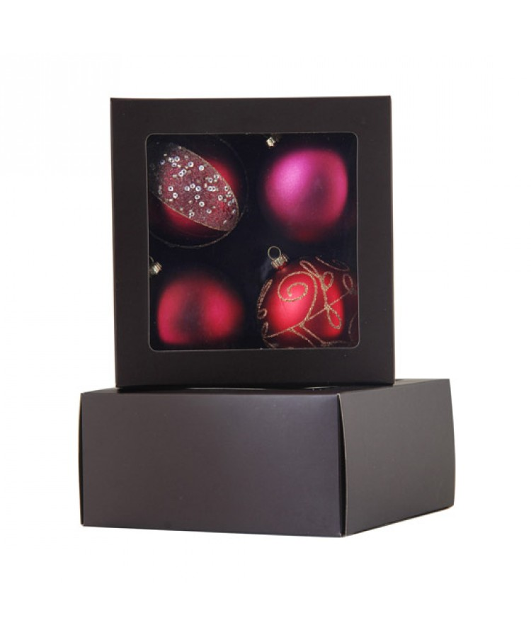 Selection of 7cm Baubles in red tones-1139