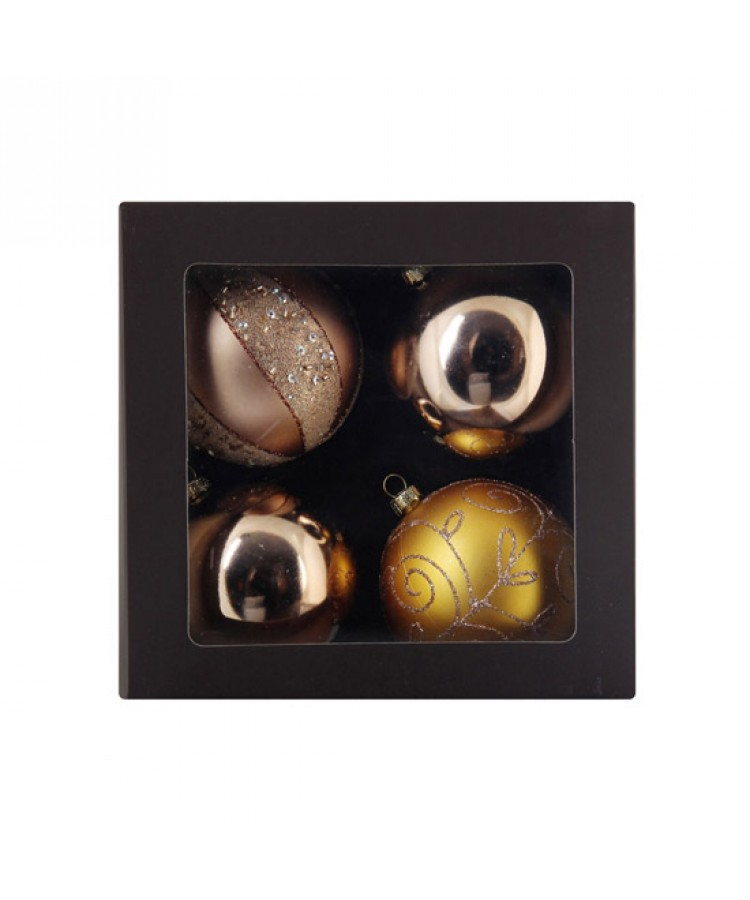 Selection of 7cm Baubles in golden tones-1145