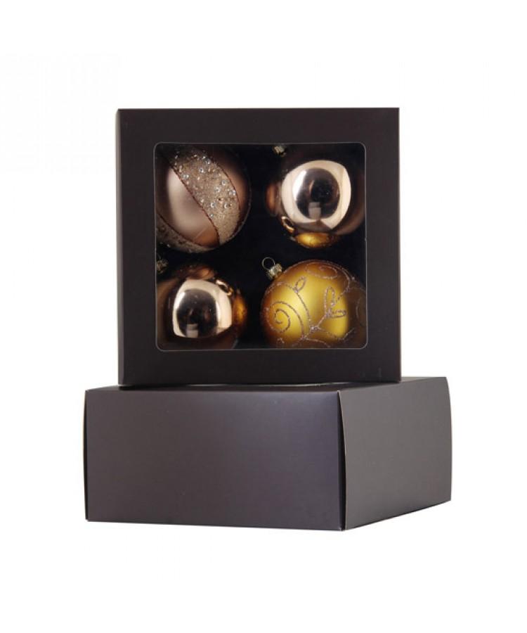 Selection of 7cm Baubles in golden tones-1147