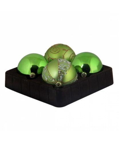 Selection of 7cm Baubles in green tones-0