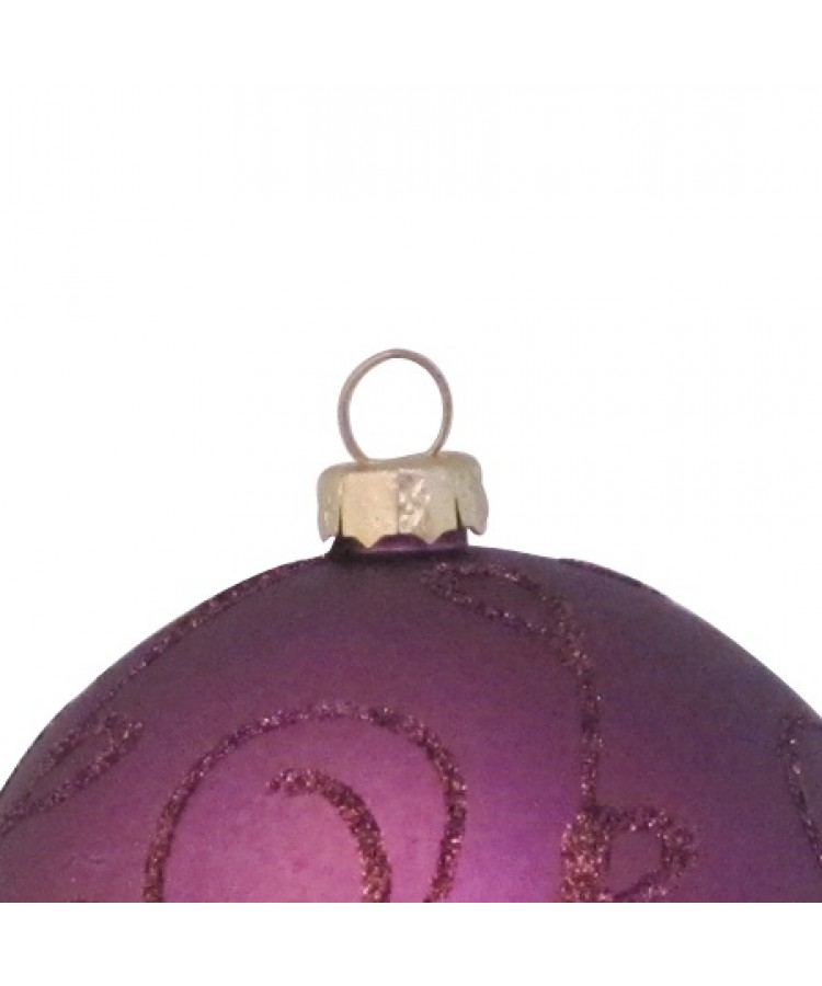 Selection of 7cm Baubles in purple tones-1155