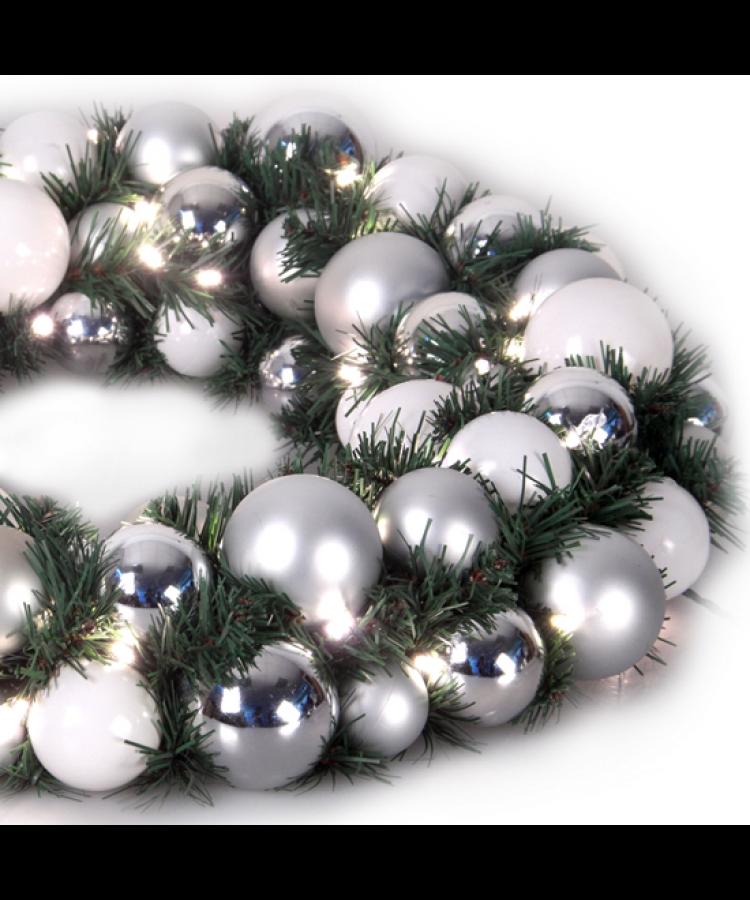Luxury Wreath Bright Silver 50cm-1269