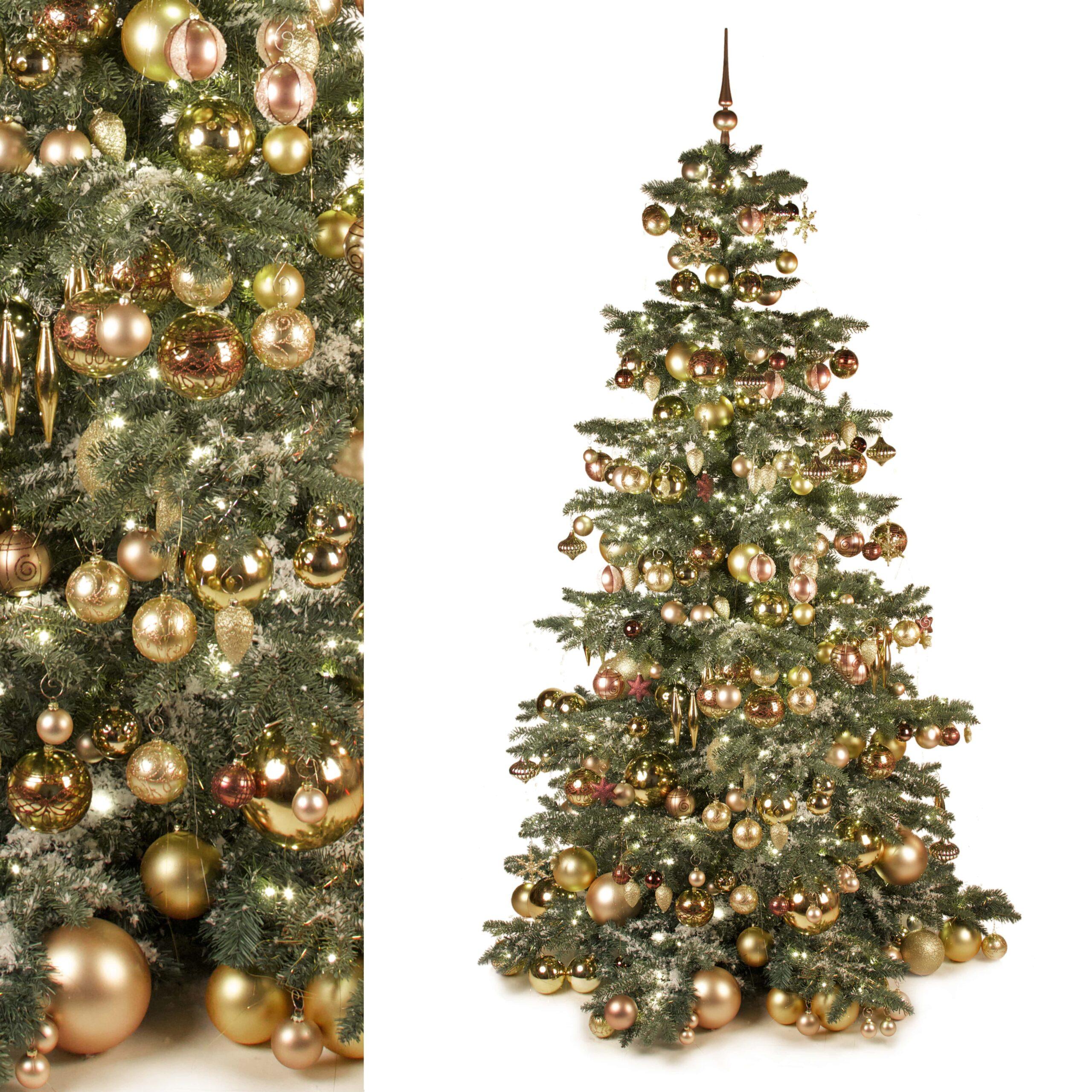 Luxe Decoratie Pakket Van 295 Ornamenten In Gouden Tinten Voor Een Kerstboom Van 240cm Exclusief Kerstboom Xmasdeco Nl
